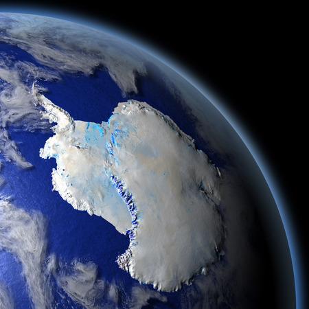宇宙で地球の軌道から南極。詳細な惑星の表面に 3 D のイラスト。