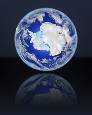 background antarctica: Antarctica on full globe with dark background. 3D illustration with detailed planet surface, atmosphere and illuminated cities. Elements of this image furnished by NASA.