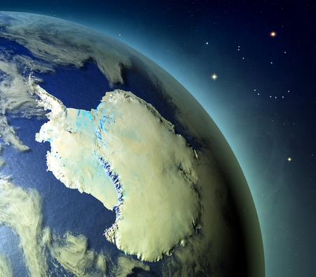 白熱大気と地球の南極は、夕日に照らされて。詳細な惑星の表面に 3 D のイラスト。