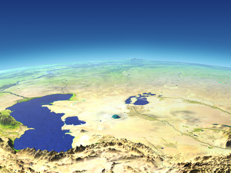 Central Asia from Earths orbit in space. 3D illustration with detailed planet surface.
