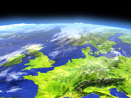 manche: Western Europe from Earths orbit in space. 3D illustration with detailed planet surface. Stock Photo