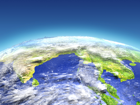 bay: Southeast Asia from Earths orbit in space. 3D illustration with detailed planet surface. Stock Photo