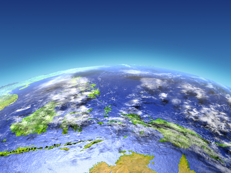 Papua from Earths orbit in space. 3D illustration with detailed planet surface.