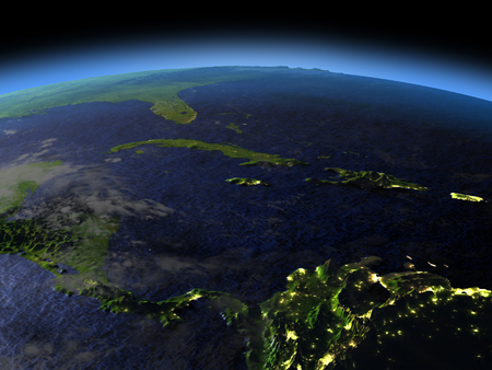 North Caribbean from space  at night with visible illuminated city lights. 3D illustration with detailed planet surface.