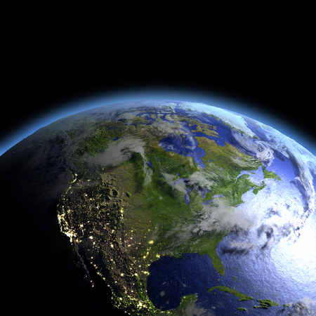 orbiting: North America lit by morning light as seen from Earths orbit in space. 3D illustration with detailed planet surface. Stock Photo