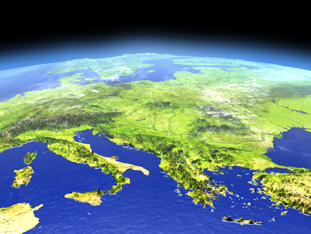 Adriatic sea region from Earths orbit in space. 3D illustration with detailed planet surface.