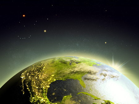 orbiting: Sunrise above North America from Earths orbit in space. 3D illustration with detailed planet surface.