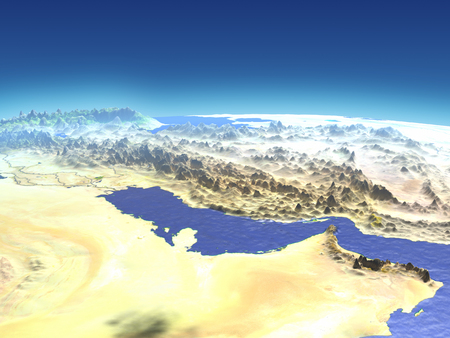 Persian Gulf from Earths orbit in space. 3D illustration with detailed planet surface.