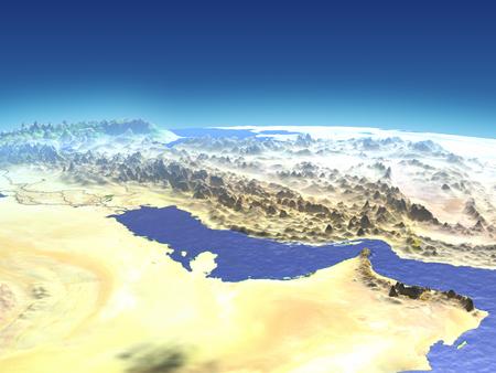 Perzische Golf vanuit de baan van de aarde in de ruimte. 3D illustratie met gedetailleerd planeetoppervlak.