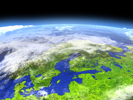 Scandinavian Peninsula from Earths orbit in space. 3D illustration with detailed planet surface. Stock Photo