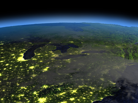 city lights: Great lakes from space  at night with visible illuminated city lights. 3D illustration with detailed planet surface.