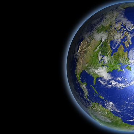 North America on planet Earth as seen from orbit in space. 3D illustration with detailed planet surface.