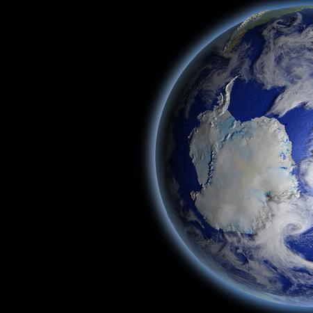 空間軌道上から見た地球上の南極。詳細な惑星の表面に 3 D のイラスト。