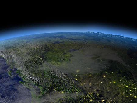 city lights: Rocky mountains from space  at night with visible illuminated city lights. 3D illustration with detailed planet surface.