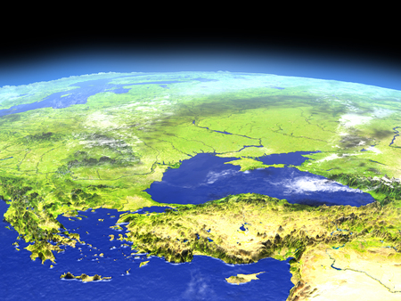 우주에서 지구의 궤도에서 터키와 흑해 지역. 자세한 행성 표면 3D 그림입니다.