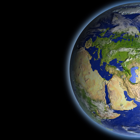 orbiting: Europe on planet Earth as seen from orbit in space. 3D illustration with detailed planet surface.