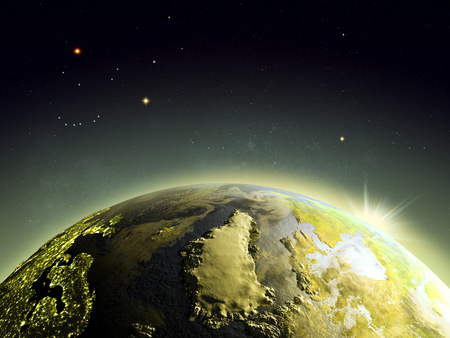 beginnings: Sunrise above Greenland from Earths orbit in space. 3D illustration with detailed planet surface. Stock Photo