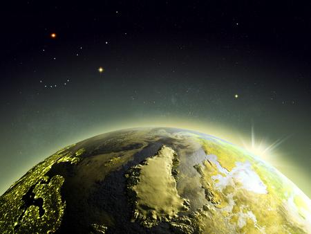 Zonsopgang boven Groenland uit de baan van de Aarde in de ruimte. 3D illustratie met gedetailleerde planeet oppervlak. Stockfoto