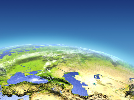 caucas: Western Asia from Earths orbit in space. 3D illustration with detailed planet surface.