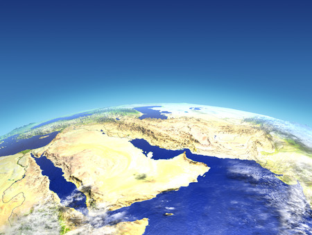 Arab Peninsula from Earths orbit in space. 3D illustration with detailed planet surface. Stock Photo