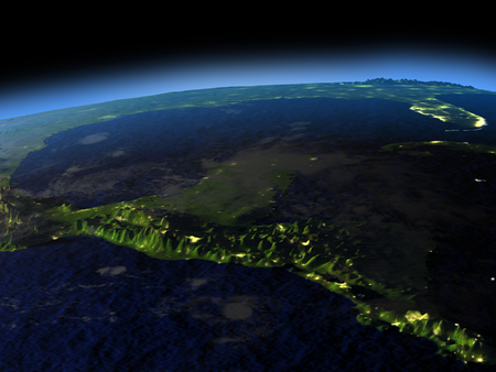 Yucatan from space  at night with visible illuminated city lights. 3D illustration with detailed planet surface.