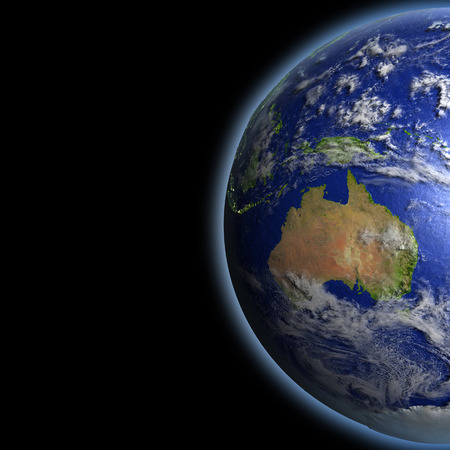 australasia: Australia on planet Earth as seen from orbit in space. 3D illustration with detailed planet surface. Stock Photo