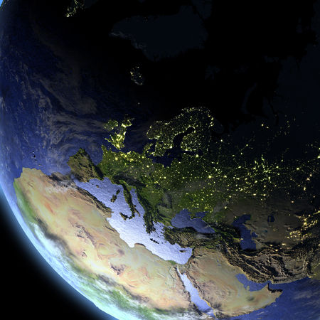 Europe from Earths orbit in space. 3D illustration with detailed planet surface.