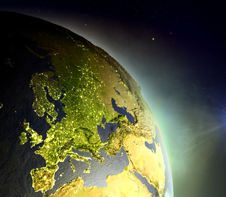 Europe as seen from Earths orbit during sunrise with brightly glowing atmosphere from the sunlight. 3D illustration with detailed planet surface.
