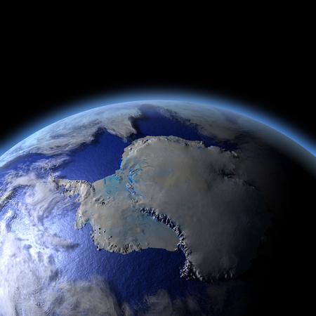 地球上の南極は、夕日に照らされて。詳細な惑星の表面に 3 D のイラスト。 写真素材