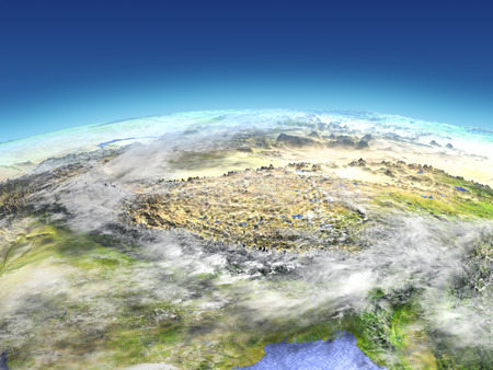 Himalayas from Earths orbit in space. 3D illustration with detailed planet surface.
