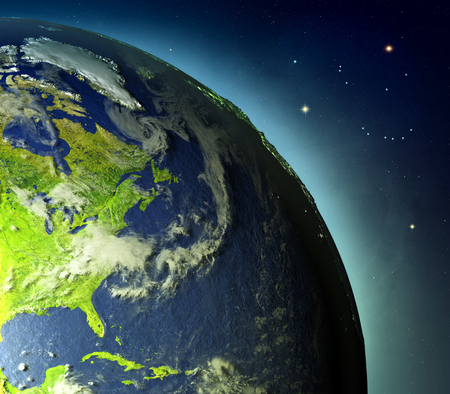 East coast of North America on planet Earth with glowing atmosphere lit by evening sun. 3D illustration with detailed planet surface.