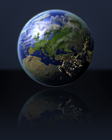 orbiting: Europe on full globe with dark background. 3D illustration with detailed planet surface, atmosphere and illuminated cities. Stock Photo