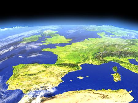 공간에서 지구의 궤도에서 이베리아. 자세한 행성 표면 3D 그림입니다.