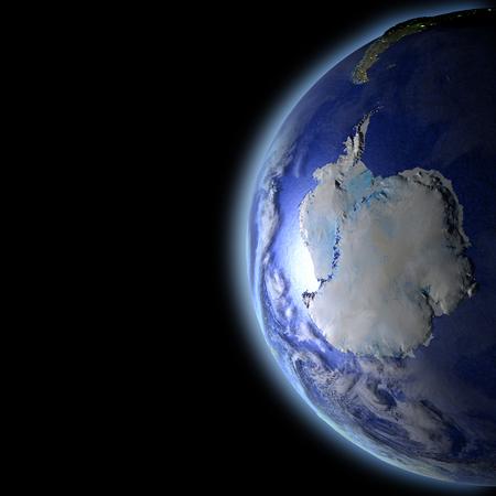 宇宙で地球の軌道から見た夕日に照らされた南極大陸。詳細な惑星の表面に 3 D のイラスト。