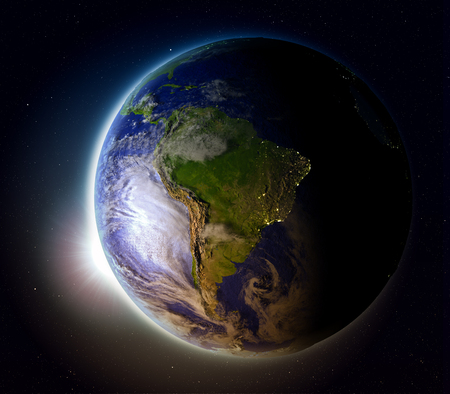 South America with sun setting below the horizon of planet Earth in space. 3D illustration with detailed planet surface.