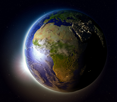 orbiting: Africa with sun setting below the horizon of planet Earth in space. 3D illustration with detailed planet surface. Stock Photo