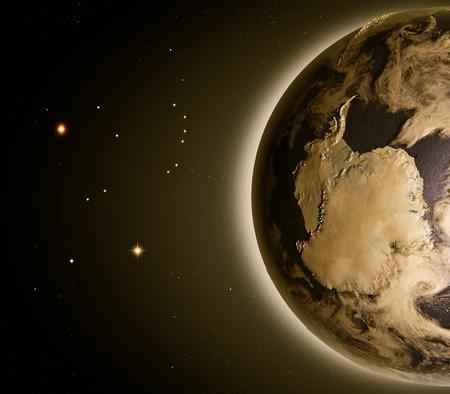 夜明けの空間で地球の軌道から南極。詳細な惑星の表面に 3 D のイラスト。 写真素材