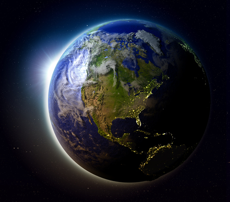 orbiting: North America with sun setting below the horizon of planet Earth in space. 3D illustration with detailed planet surface. Stock Photo