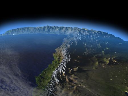 夜の空間で地球の軌道から見たアンデスのアルティプラーノ。詳細な惑星の表面に 3 D のイラスト。 写真素材