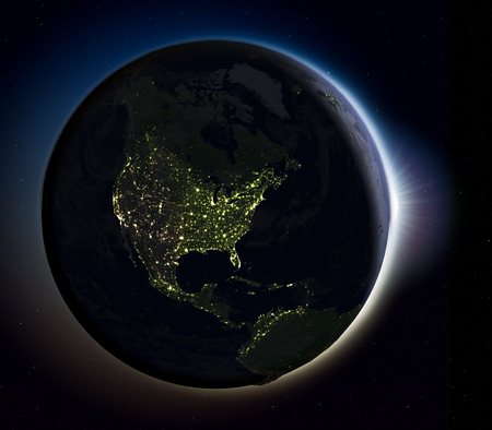 orbiting: Sun rising above North America on planet Earth as seen from space. 3D illustration with actual city lights illuminating the surface. Stock Photo