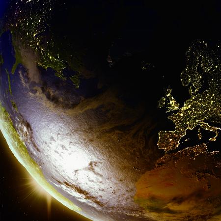 Coucher de soleil au-dessus de l'Europe et de l'Amérique du Nord vu de l'orbite terrestre dans l'espace. Illustration 3D avec la surface de la planète détaillée. Banque d'images - 80620827