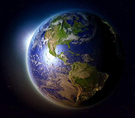 Americas with sun setting below the horizon of planet Earth in space. 3D illustration with detailed planet surface. Stock Photo