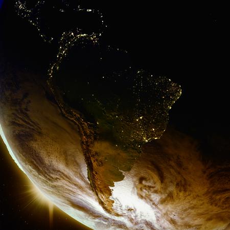 Coucher de soleil au-dessus de l'Amérique du Sud vu de l'orbite terrestre dans l'espace. Illustration 3D avec la surface de la planète détaillée. Banque d'images - 80620834