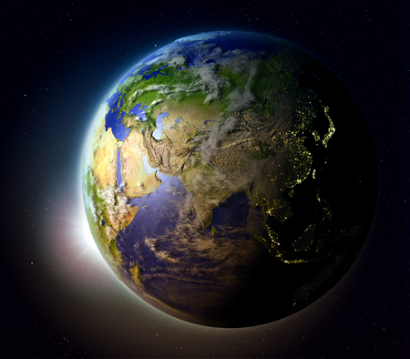 orbiting: Asia with sun setting below the horizon of planet Earth in space. 3D illustration with detailed planet surface.