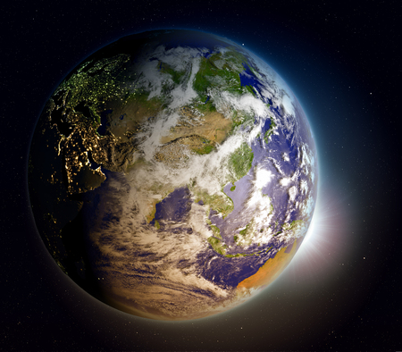 beginnings: Sunrise above planet Earth facing Asia. 3D illustration with extremely detailed planet surface. Stock Photo