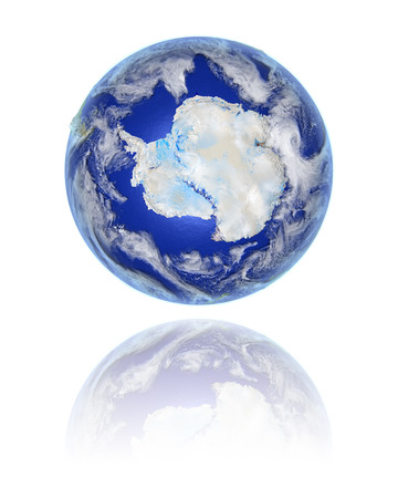 Model of planet Earth facing Antarctica hovering above reflective bright surface. 3D illustration isolated on white background.