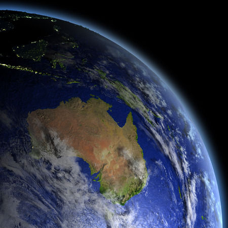 city lights: Australia at dawn from Earths orbit in space. 3D illustration with detailed planet surface.