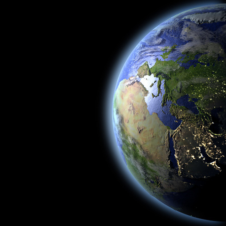 Europe illuminated by evening sun as seen from Earths orbit in space. 3D illustration with detailed planet surface.