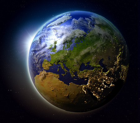 Europe with sun setting below the horizon of planet Earth in space. 3D illustration with detailed planet surface.