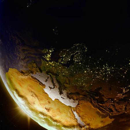 Coucher de soleil au-dessus de l'Europe vu de l'orbite terrestre dans l'espace. Illustration 3D avec une planète détaillée. Banque d'images - 80620861